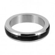 Stainless Steel Cock Ring with Black Band- Large