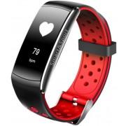 Bratara Fitness iUni Z11 Plus, Display OLED, Bluetooth, Pedometru, Monitorizare puls, Notificari, Android si iOS (Negru/Rosu)