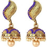 Jewels Gold Alloy Traditional Gold Plated Antique Wedding Jhumki Earring Set For Women Girls