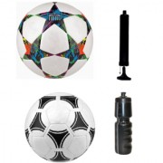 Kit of Multistar UEFA Champions League Football + Tango Pasadena Black & White Football (Size-5) - Pack of 2 Balls with Air Pump & Sipper