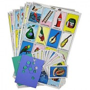Loteria Cards Mexican Bingo Family Game 12 Jumbo Juego de Loteria Board Tablets with Play Cards and Placement Chips - Le