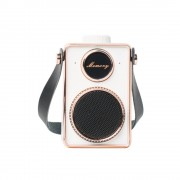 Vintage Super Bass Mini Portable USB Music Speaker MP3 Player With Microphone - Gold