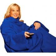 Patura cu Maneci, Moale si Calduroasa, Material Fleece, Dimensiuni 140x180cm, Culoare Albastru