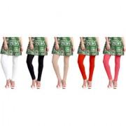 Jakqo Women's Cotton Plain Long Length Legging (Free Size Pack of 5 White Black Tan Orange Peach Pink)