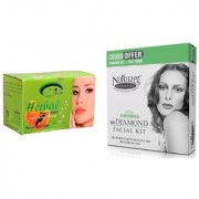 Nature's Essence Ravishing Mini Diamond Facial Kit 52g + 60ml Pink Root Herbal Bleach 250g