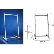 Stand metalic 140 cm latime, 150 cm inaltime, pe rotile, 3 pozitii fixe, SMIT