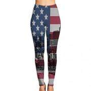 Mipu Shangmao USA Chicago Skyline Pantalones de Yoga para Mujer, Blanco, S