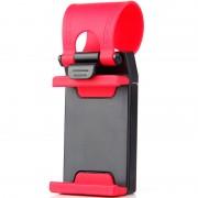 Suport telefon cu prindere pe volan, Negru/Rosu