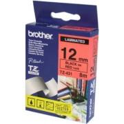 Bandă laminată Brother TZ431, 8m/12mm negru/rosu