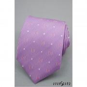 Lila kravata s proužky a stříbrnými čtverečky Avantgard 559-1152-1