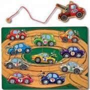 Дървен пъзел с магнитна въдица и колички - 13777 - Melissa and Doug, 000772137775