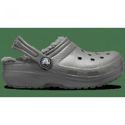 Crocs Slate Grey/Smoke Kids' Classic Fuzz-Lined Clog Shoes