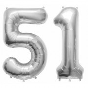 Stylewell Solid Silver Color 2 Digit Number (51) 3d Foil Balloon for Birthday Celebration Anniversary Parties
