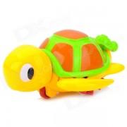 Linda tortuga mama w / kid juguete de bano plastico flotante para bebe - amarillo + verde