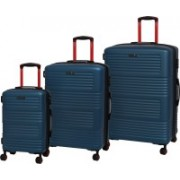 IT Luggage Expressway Polycarbonate Hardsided Suitcase Set | Large, Medium & Cabin Lightweight Travel Bags | 8 Wheels |16-2337-08| Set of 3 Expandable Check-in Luggage - 31 inch(Blue)