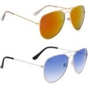 Elgator Aviator Sunglasses(Yellow, Blue)