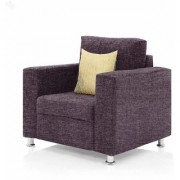 Earthwood - Fully Fabric Upholstered Single-Seater Sofa - Premium Valencia Purple