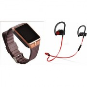 Zemini DZ09 Smart Watch and QC 10 Bluetooth Headphone for LG OPTIMUS G (DZ09 Smart Watch With 4G Sim Card Memory Card| QC 10 Bluetooth Headphone)