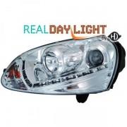 Set fari fanali proiettori anteriori XENON TUNING VW GOLF V 2003-2008 cromati, con luce DIURNA DRL DAYLINE LED omologati R87, xenon D2S+H1