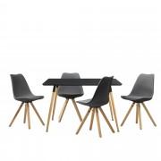 [en.casa] Mesa de comedor diseño - negro - Set de sillas con estilo elegante - gris