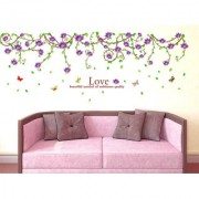 Vinyl Floral Vine Climbing Border Design Ceiling Beautiful Clematis Barbara Dibley Wall Sticker (71X51 Inch)