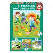 Educa Állatok a farmon 4 az 1-ben puzzle