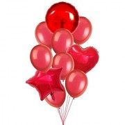 Stylewell Set of 10 Soild Attractive Red Color 18 Inch 3D Foil Toy Balloons For Birthday Anniversary Party Decoration