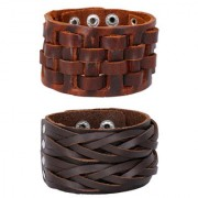 Braided Dark Brown 100 Genuine Handcrafted Funky Checks Mat Leather Wrist Band Combo Pack Of 2 Bracelet Boys Men