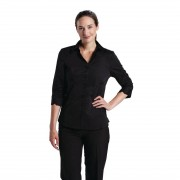 Uniform Works dames stretch shirt zwart S - S