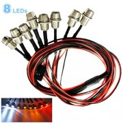 Kalevel Led Light for Rc Trucks Cars 8 LED Rc Car Led Light Kit Rc Truck Led Lights Rc Truck Light Kit Rc Car Headlights Taillight for Truck Rc Car Tank Hsp Tamiya D3 Rc Car Accessories