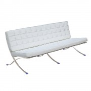 Replica Barcelona 3-seater-full premium white Italian leather with LEATHER pipping & buttons
