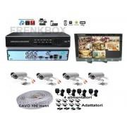 """Kit videosorveglianza MONITOR 10"""", DVR Cloud 4 Telecamere 1200TVL HD cavo 100mt"""