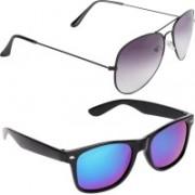 Aligatorr Aviator, Wayfarer Sunglasses(Grey, Blue)