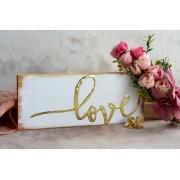 "Placuta decorativa ""Love"", cu accente aurii"