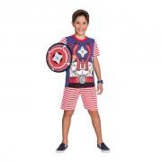 Pijama Masculino Curto Veggi Super Herói Capitão América com Escudo de Porta Pijama