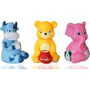 Dinlipp New born Squeezy Animal toys Big size(6 inch each),Chu-Chu Bath toys for babies high quality 3 Animals cute and attractive (Cow,Bear & Elephant),Non toxic and very soft