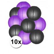 Shoppartners Lampionnen pakket paars en zwart 10x