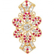 MFJ Fashion Appealing Flower Design Zinc Gold Plated Pink White Stone Hair Clip For Women