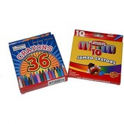 Crayon Bundle 2 Pack crayon boxes includes one box of 10 jumbo crayons and one box of 36 crayons with sharpener