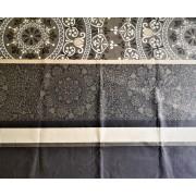 3 részes ágytakaró szett hímzett barna-drapp virágos 220x240 cm