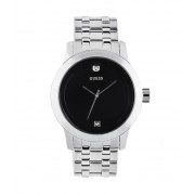 GUESS Black and Silver-Tone Diamond Dress Watch no color