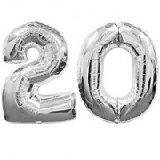 Birthday Party 20 Number Foil Balloon (silver Colour )