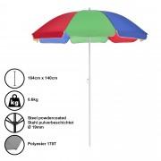 [casa.pro]® Чадър за плаж, чупещ се, преносим, Ø 140 x 164 cm , Разноцветен