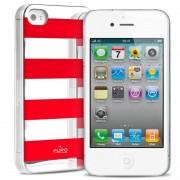 Capa Puro Stripe para iPhone 4 / 4S - Prateado / Vermelho