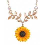 Zaful Collier Clavicule Motif de Tournesol et de Branche Or