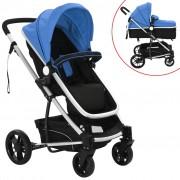 vidaXL Carrinho de bebé/berço 2 em 1 alumínio azul e preto