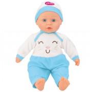 Papusa baietel cu sunete 40 cm Globo Bimbo, cu costum pisicuta bleu si caciula