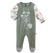 Petit Béguin Pyjama bébé en velours contenant du coton bio Noisette - Taille - 6 mois