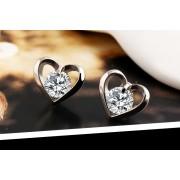 Cercei in forma de inima placati argint