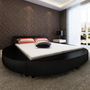 vidaXL Легло с матрак 180x200 см, кръгло, изкуствена кожа, черно